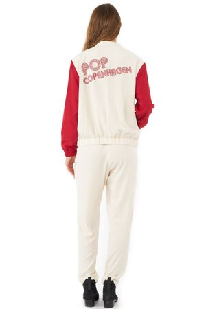 BLOUSON WITH POP EMBROIDERY  SAND/RED