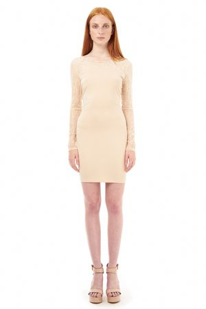 BODYCON DRESS WITH LACE   SAND