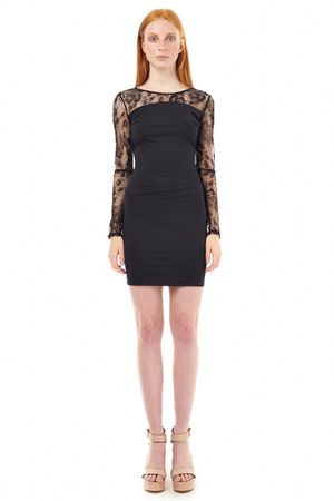 BODYCON DRESS WITH LACE   BLACK