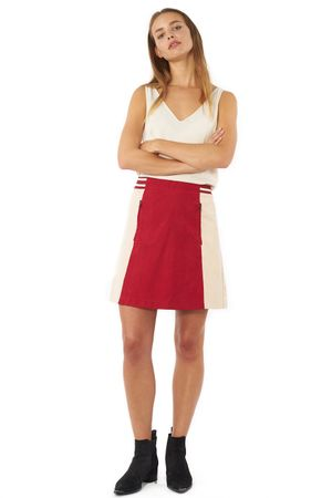 BOMBER SKIRT WITH VARSITY RIB  RED/SAND