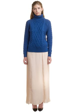 CABLE KNIT ROLL NECK SWEATER   BLUE