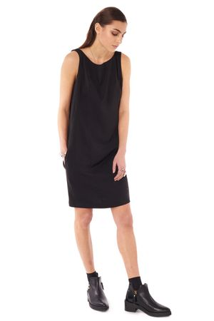 DRESS WITH WATERFALL BACK  BLACK