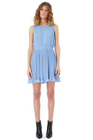 GEORGETTE DRESS WITH PLEATED BOTTOM   SKY