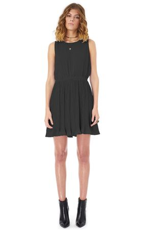GEORGETTE DRESS WITH PLEATED BOTTOM   BLACK