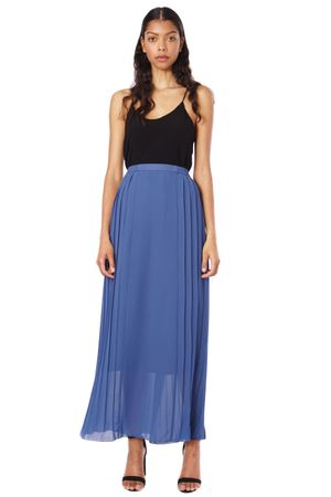 GEORGETTE PLEATED LONG SKIRT  BLUE