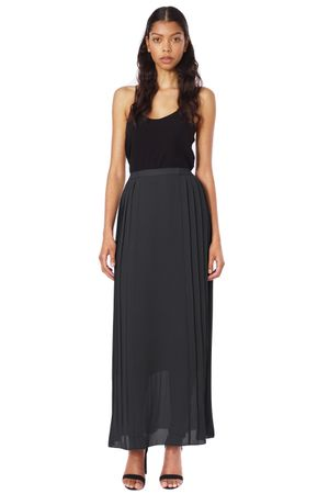 GEORGETTE PLEATED LONG SKIRT  BLACK