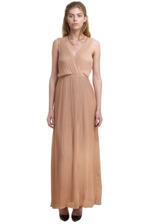 GEORGETTE PLEATED MAXI DRESS   CAMEL
