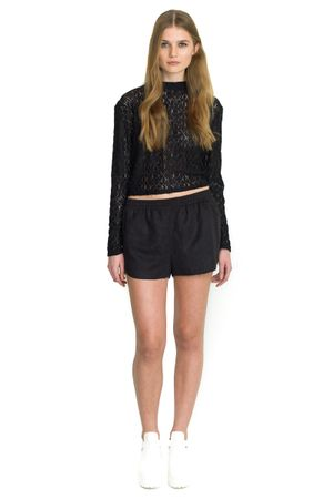 LACE CROPPED BLOUSE  BLACK