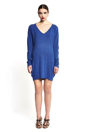 PEARL KNIT DRESS WITH ELONGATED V-NECK  INK WITH BLUE