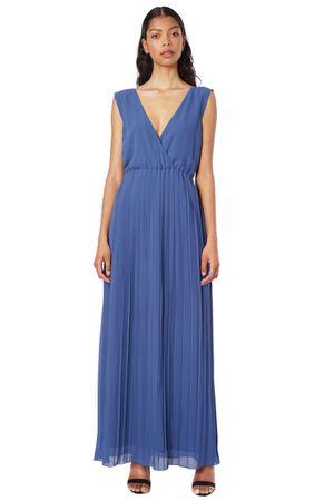 PLEATED MAXI DRESS  BLUE