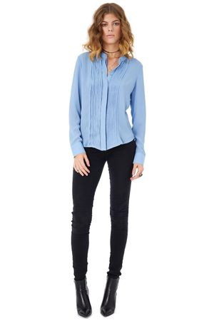 GEORGETTE SHIRT WITH PLEATED FRONT   SKY