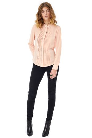 GEORGETTE SHIRT WITH PLEATED FRONT   ROSE