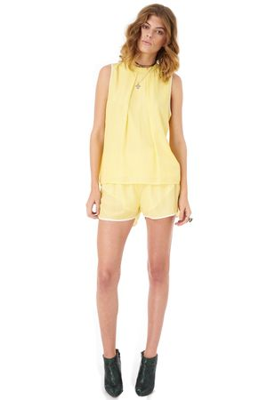 VISCOSE TOP WITH CONTRAST TRIM   YELLOW