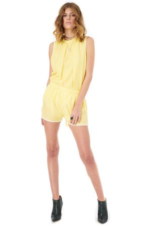 VISCOSE SHORTS WITH CONTRAST TRIM   YELLOW