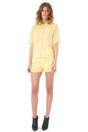 GEORGETTE SHORT SLEEVED SHIRT    YELLOW