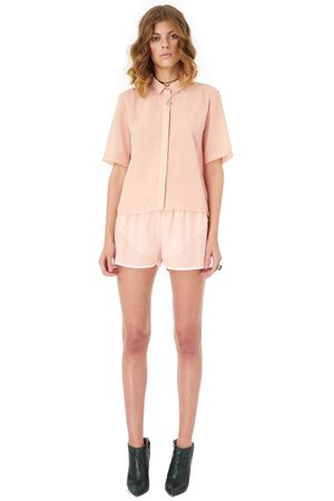 GEORGETTE SHORT SLEEVED SHIRT    ROSE
