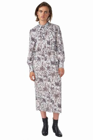 POP COPENHAGEN - ANIMAL PRINTED MAXI SHIRT DRESS