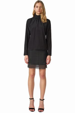 POP COPENHAGEN - DOUBLE LAYERED HIGH-COLLAR BLOUSE