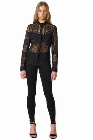 POP COPENHAGEN - LACE & GEORGETTE SHIRT