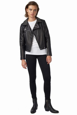 POP COPENHAGEN - LAMB SKIN BIKER JACKET WITH STUDS