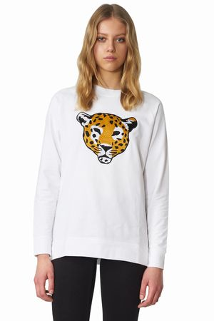 POP COPENHAGEN - LEOPARD EMBROIDERY SWEATSHIRT