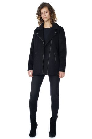 POP COPENHAGEN - LONG WOOL BIKER JACKET