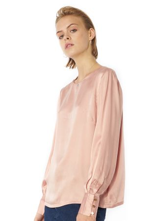 POP COPENHAGEN - SAND-WASHED SILK LONG-SLEEVED BLOUSE