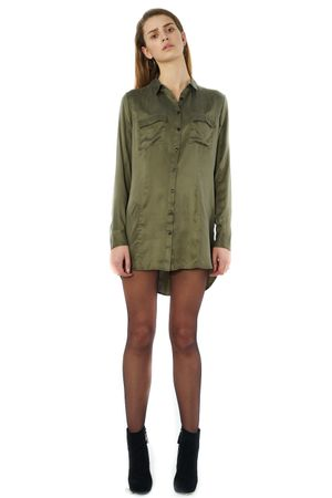 SAND-WASHED SILK SHIRT DRESS - POPCopenhagen