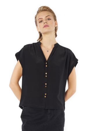 POP COPENHAGEN - SILK GEORGETTE TOP