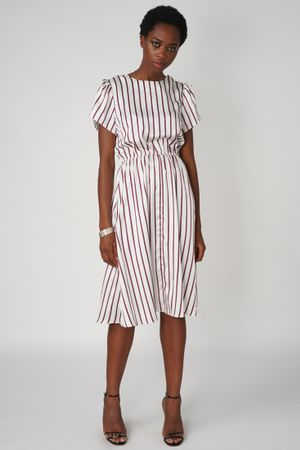 POP COPENHAGEN - STRIPED PETAL SLEEVE DRESS