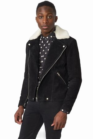 POP COPENHAGEN - SUEDE BIKER JACKET WITH SHEARLING