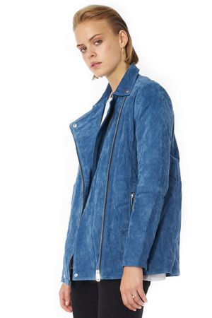 POP COPENHAGEN WASHED & PADDED LONG SUEDE BIKER JACKET