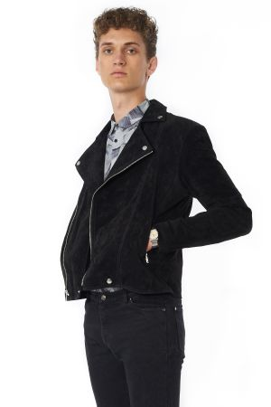 POP COPENHAGEN - WASHED SUEDE BIKER JACKET