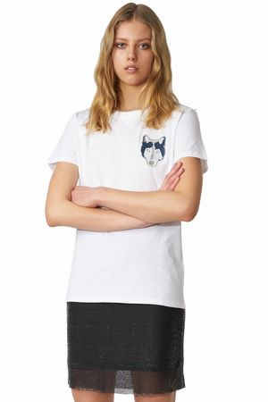 POP COPENHAGEN - WOLF EMBROIDERY TEE