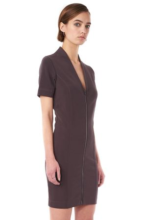 RAW DRESS WITH HIGH V-NECK  CHARCOAL