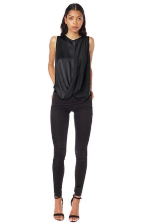 SAND-WASHED LAYERED TOP  BLACK