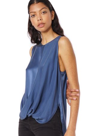 SAND-WASHED LAYERED TOP  BLUE