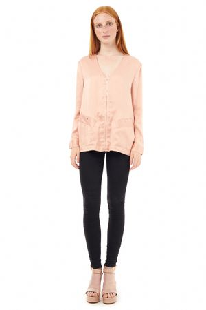 SAND-WASHED SILK BLOUSE WITH ZIPPER  ROSE