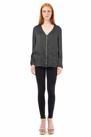 SAND-WASHED SILK BLOUSE WITH ZIPPER  BLACK