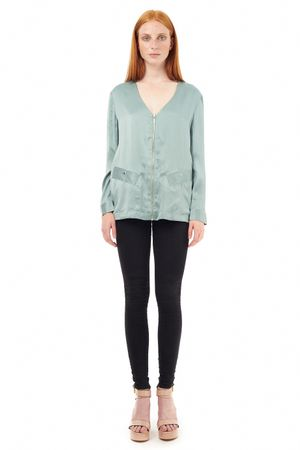 SAND-WASHED SILK BLOUSE WITH ZIPPER  OCEAN