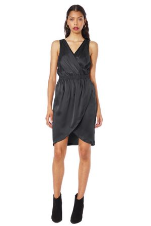 SAND-WASHED SILK DRESS  BLACK