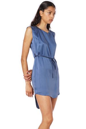 SAND-WASHED SILK DRESS WITH BELT  BLUE
