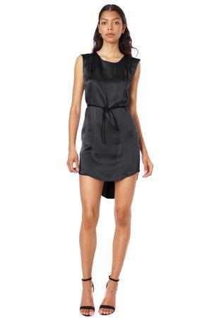 SAND-WASHED SILK DRESS WITH BELT  BLACK