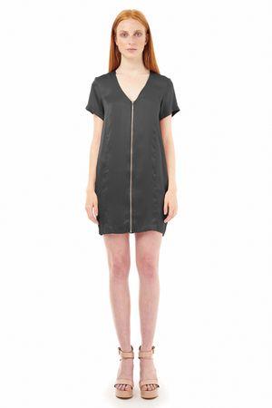 SAND-WASHED SILK DRESS WITH ZIPPER  BLACK