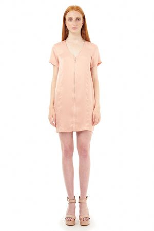 SAND-WASHED SILK DRESS WITH ZIPPER  ROSE