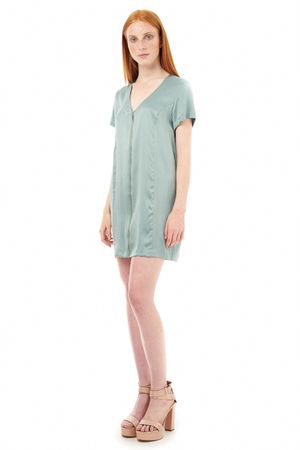 SAND-WASHED SILK DRESS WITH ZIPPER  OCEAN