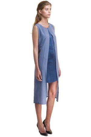 SAND-WASHED SILK VS GEORGETTE DRESS   BLUE