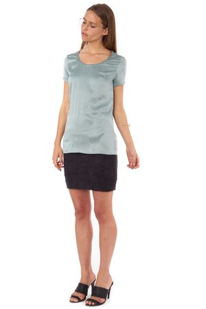 SILK T-SHIRT WITH X CREST  SEA FOAM