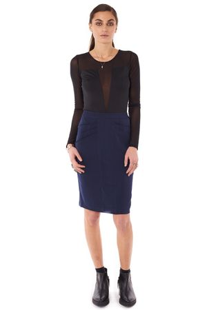 SKIRT WITH PLEATS AND POCKETS  INK