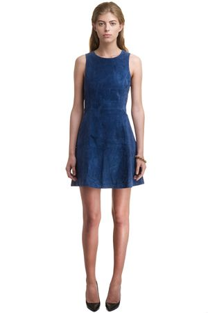 SUEDE FIT AND FLARE DRESS   BLUE